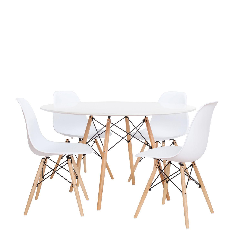 Pack mit 4 Stühlen WOODEN Color Edition und 1 Tisch WOODEN 120 ...