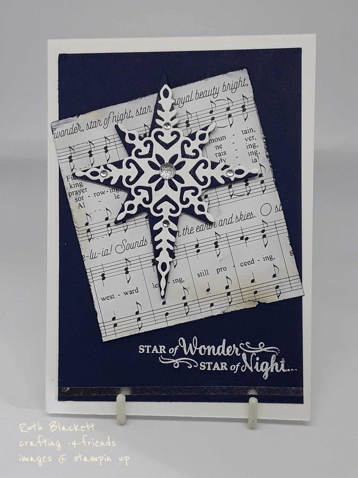 star of light with music papers christmas catd stampin up