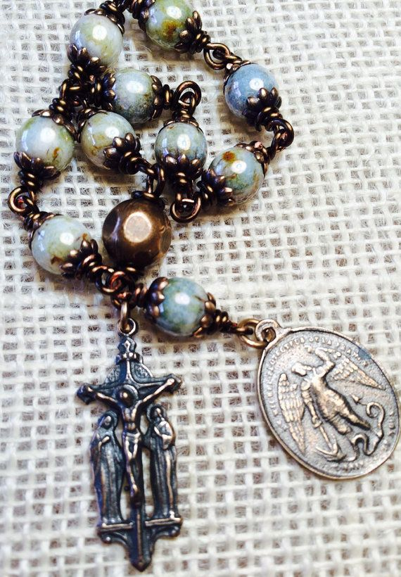 St. Michael Tenner or Pocket Rosary, Scene of Good Friday, Bronze wire-wrapped, 8mm Olivine Czech Beads , Catholic Jewelry #rosaryjewelry