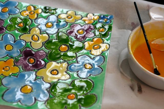 131st Power of Paint Party… Painting with the Kiddos- cornflour paint! Lovely glossy effect.