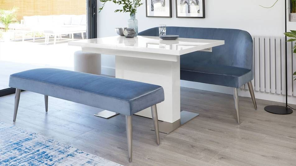 Sanza Grey Gloss And Mellow Velvet Dining Set Dining Set With Bench Upholstered Dining Bench White Gloss Dining Table