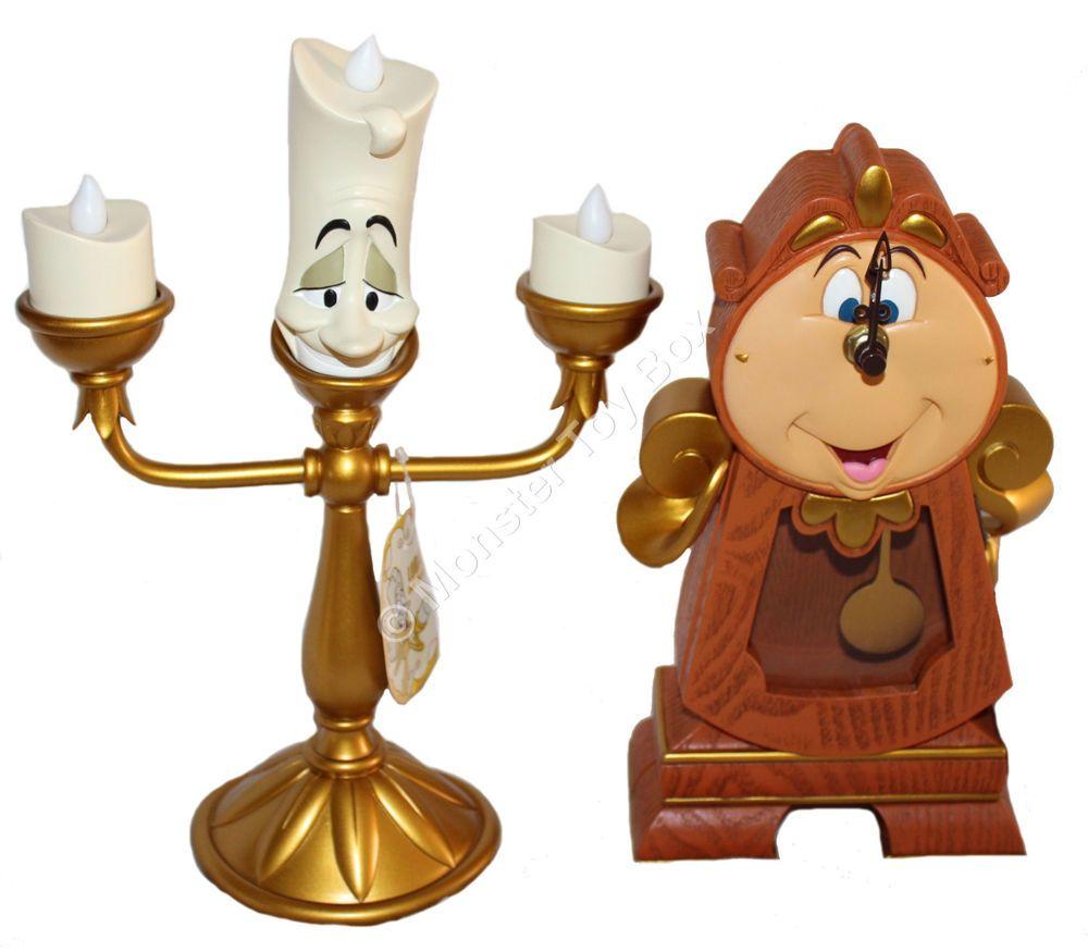 Disney Parks Cogsworth Clock Lumiere Light Up Figure Beauty The Beast