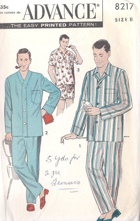 1950s Men S Pajamas Vintage Sewing Pattern Advance 8217 Chest Size 42 To 44