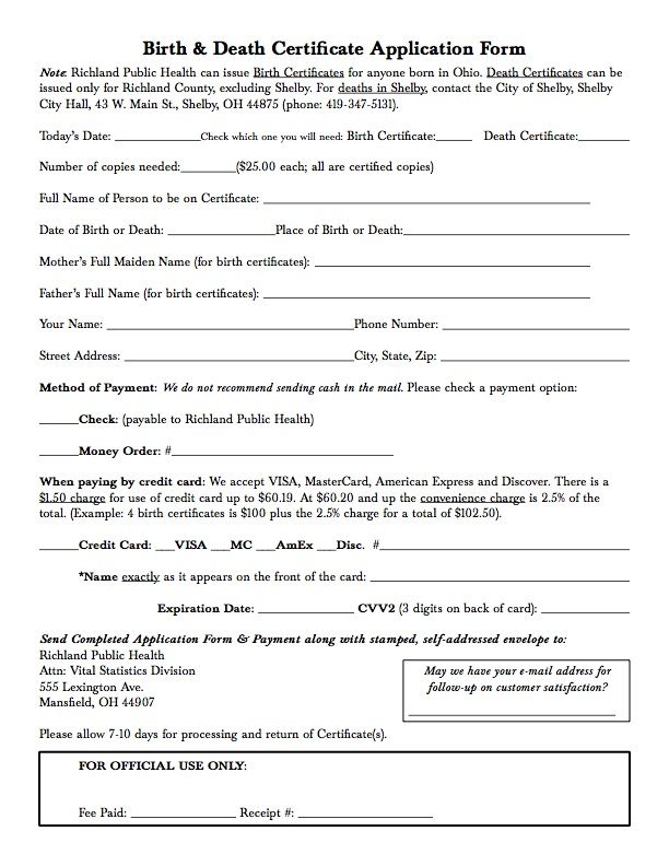 Birth & Death Certificate Application Form - Richland Public Health ...