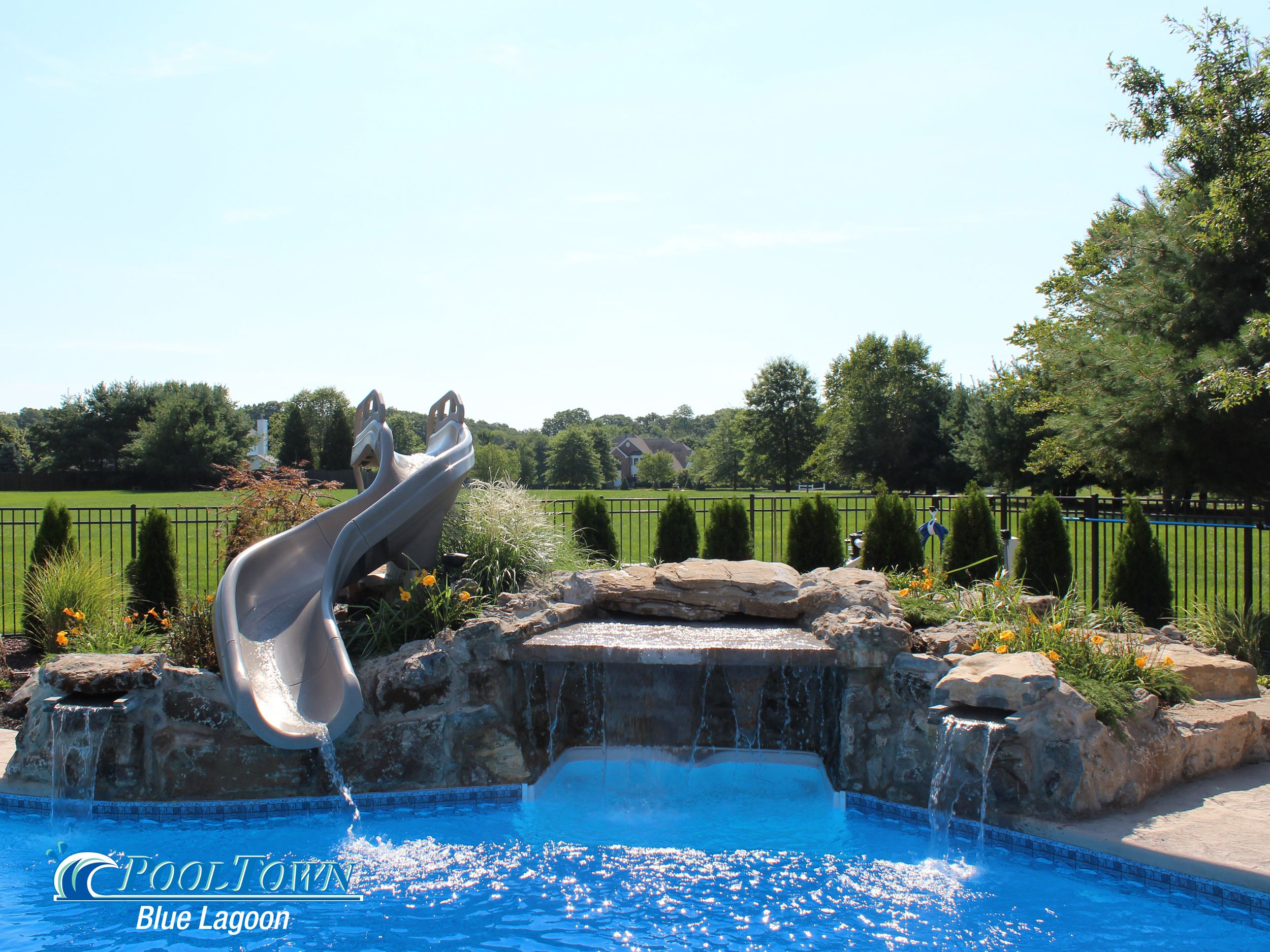 Pool Town NJ inground swimming pool with waterfall and