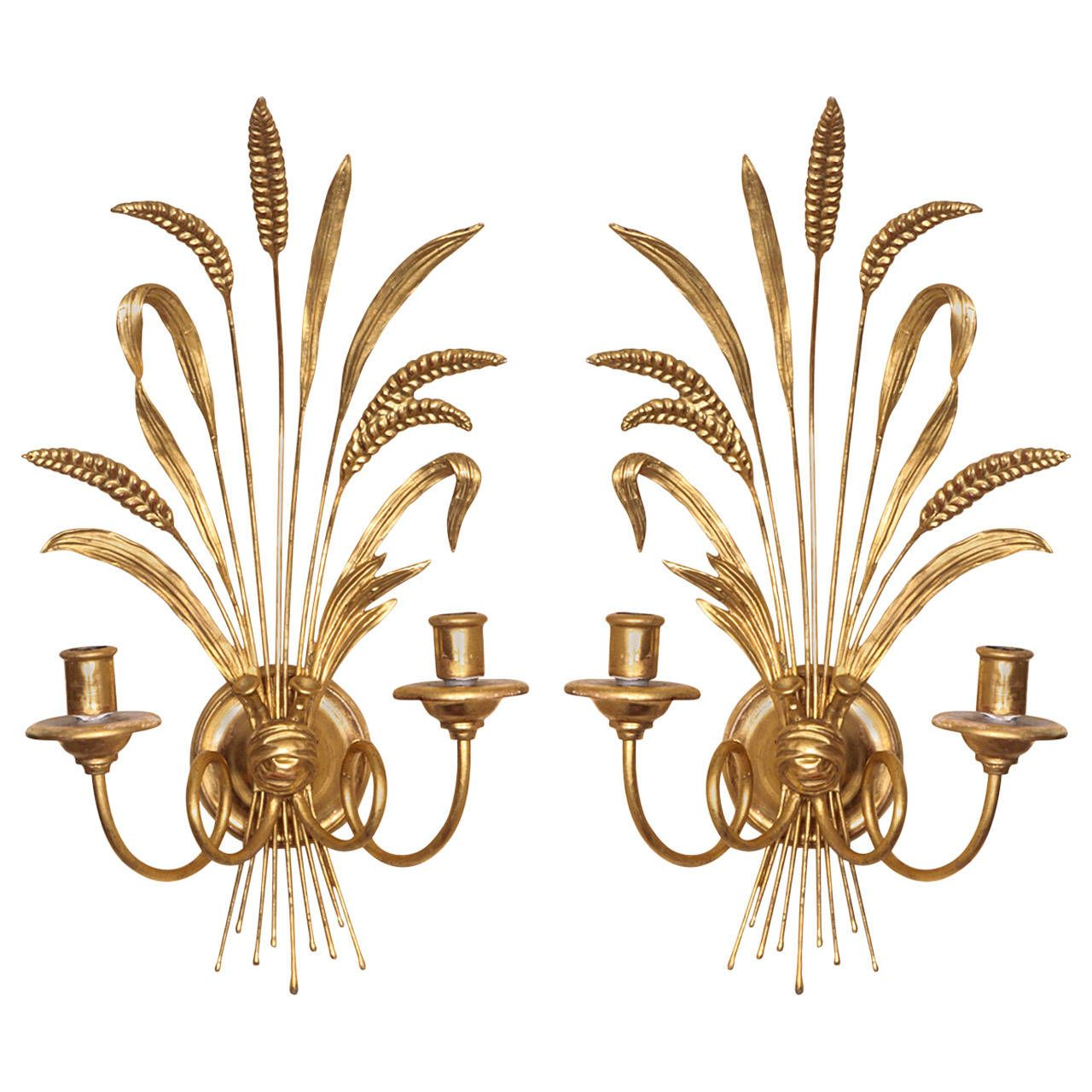 Pair Of Giltwood And Gesso Wheat Sheaf Sconces Www Babounewyork Com Vintage Wall Lights Vintage Sconce Sconces