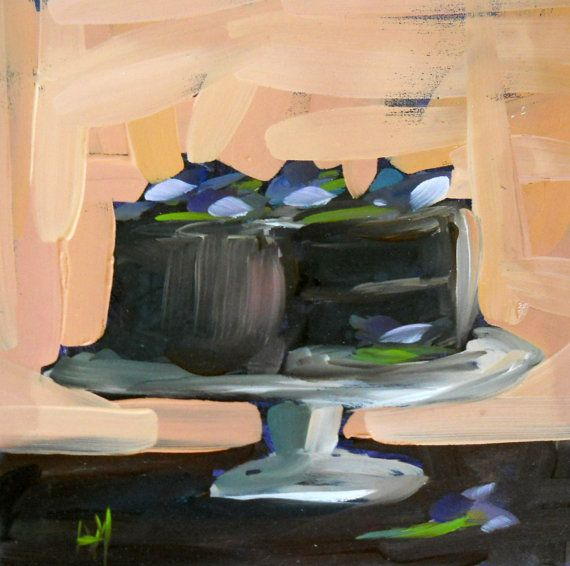 fudge cake and pansies original painting by by prattcreekart, $45.00