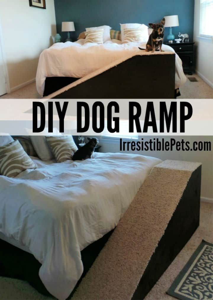 diy elevated dog bed with stairs