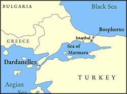 Dardanelles Strait Map Map showing parts of Bulgaria, Greece, and Turkey. Also shows the  Dardanelles Strait Map