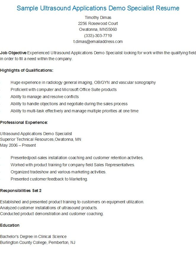 Sample Ultrasound Applications Demo Specialist Resume resame - ultrasound technician resume