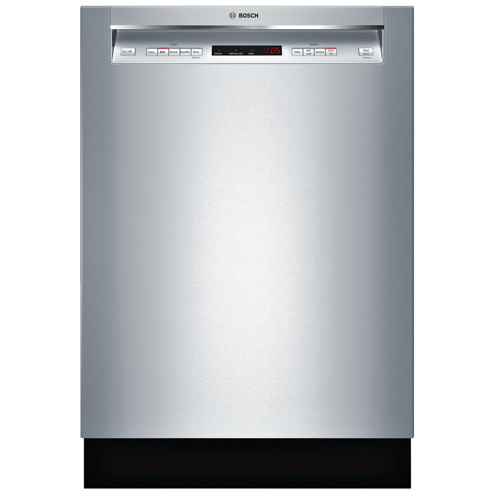 Bosch 300 Series 24 In Stainless Steel Front Control Tall Tub Dishwasher With Stainless Steel Tub And 3rd Rack 44dba Shem63w55n The Home Depot In 2021 Steel Tub Best Dishwasher Top Rated Dishwashers