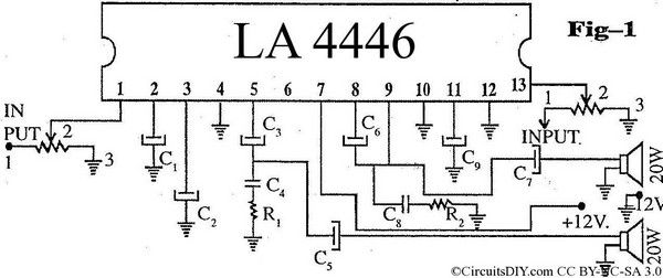 Compact Highperformance 12v 20w Stereo Amplifier Circuit Diagram