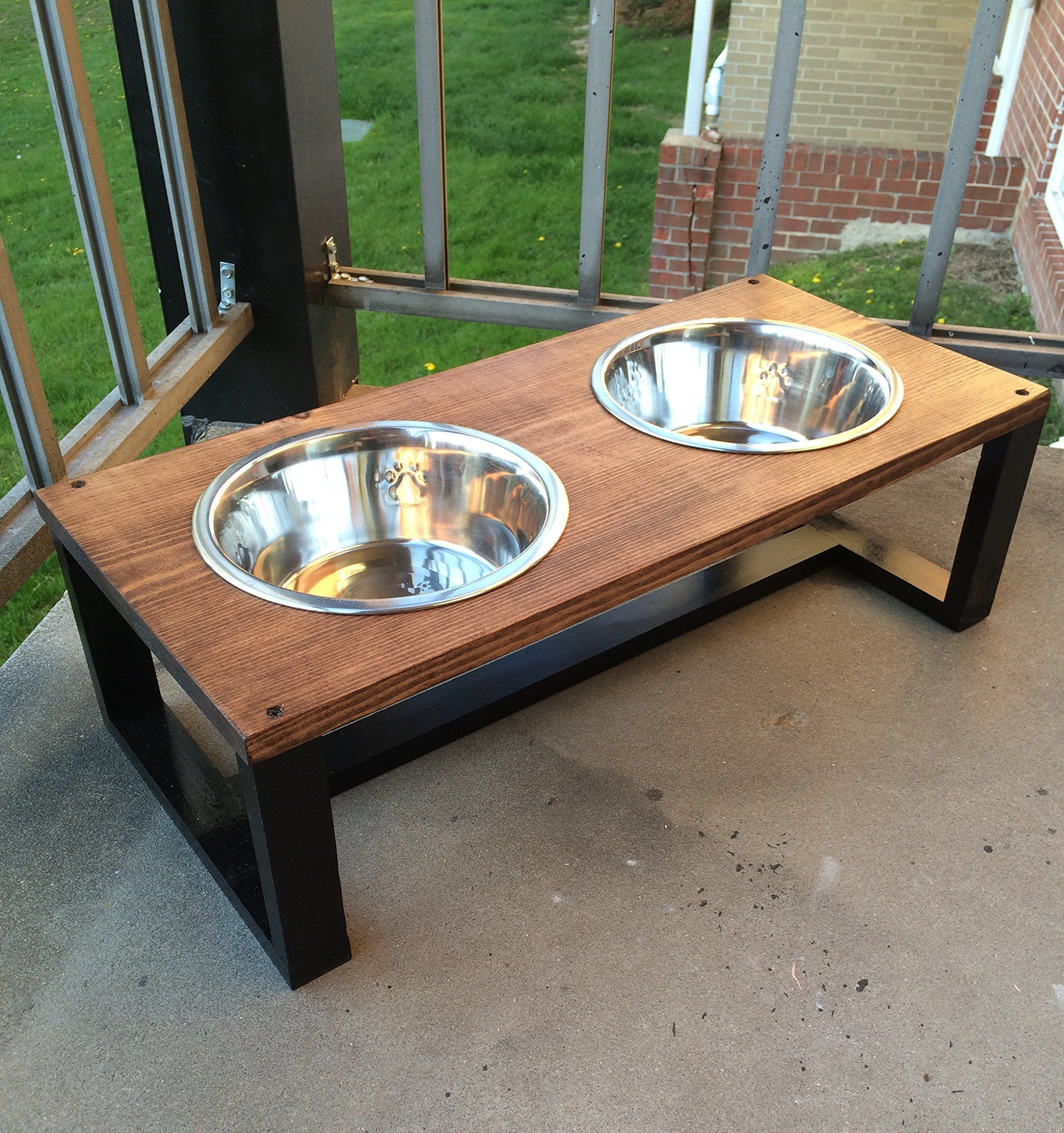 Modern Pet Bowl Holders Wood Dog Bowl Holder Contemporary Pet