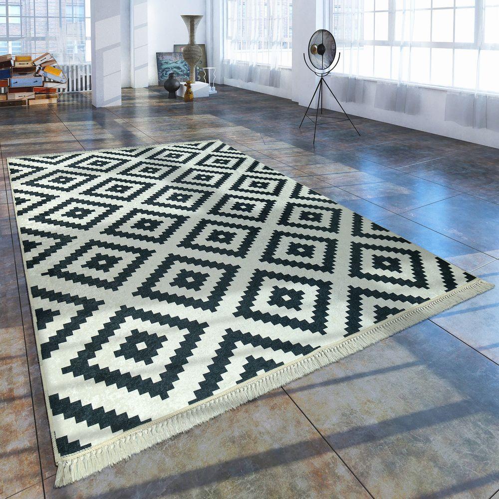 Trend Teppich Rauten Muster Schwarz Weiss Moderne Teppiche Teppich Teppich Schwarz Weiss
