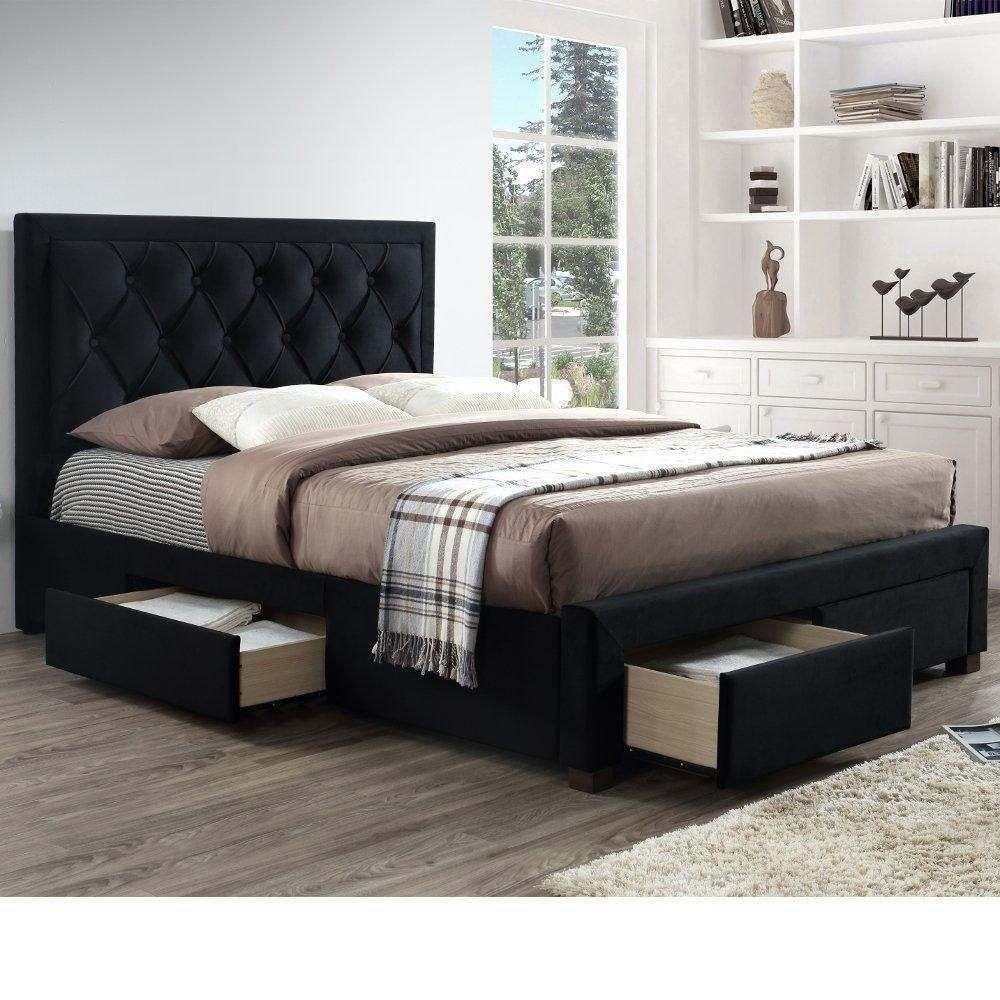 Woodbury Black Velvet Fabric 4 Drawer Storage Bed Black