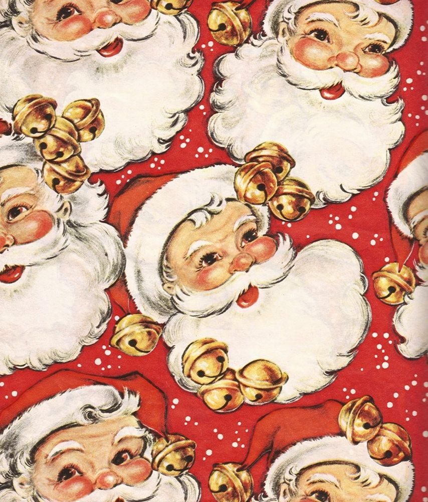 Santa Claus Vintage Wrapping Paper Christmas In July Snow And Sleigh Bells Kitsch Retro Vintage Christmas Wrapping Paper Christmas Ephemera Christmas Wrapping Paper