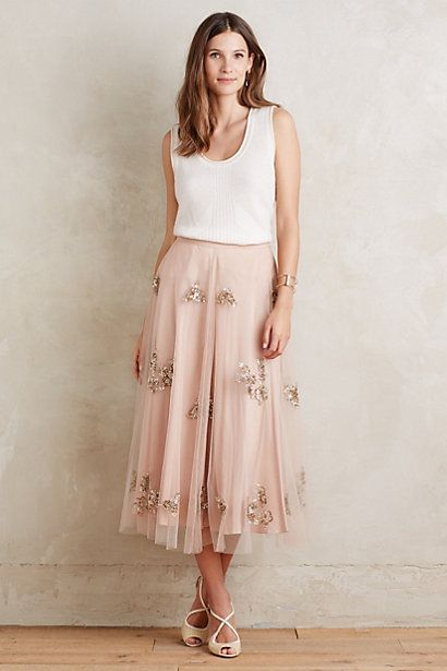 fc6a31f39f4f Embellished Tulle Midi Skirt #anthropologie -- i REALLY want a very full  ballet-length tulle skirt (blush is at the top of the list), and i also  really ...