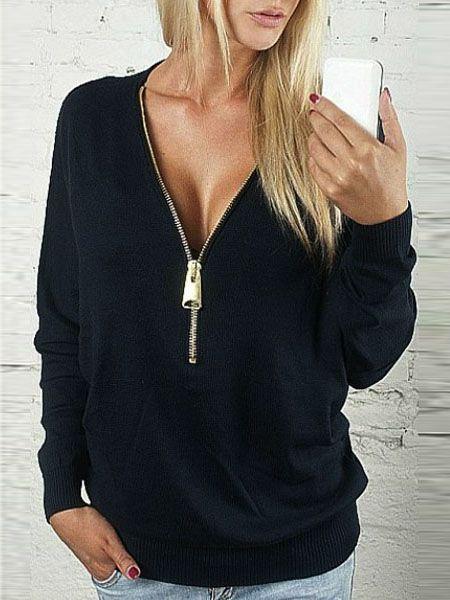 0046fcd64d Shop Black Zipper V Neck Plain Sweatshirt online. SheIn offers Black Zipper  V Neck Plain Sweatshirt & more to fit your fashionable needs.