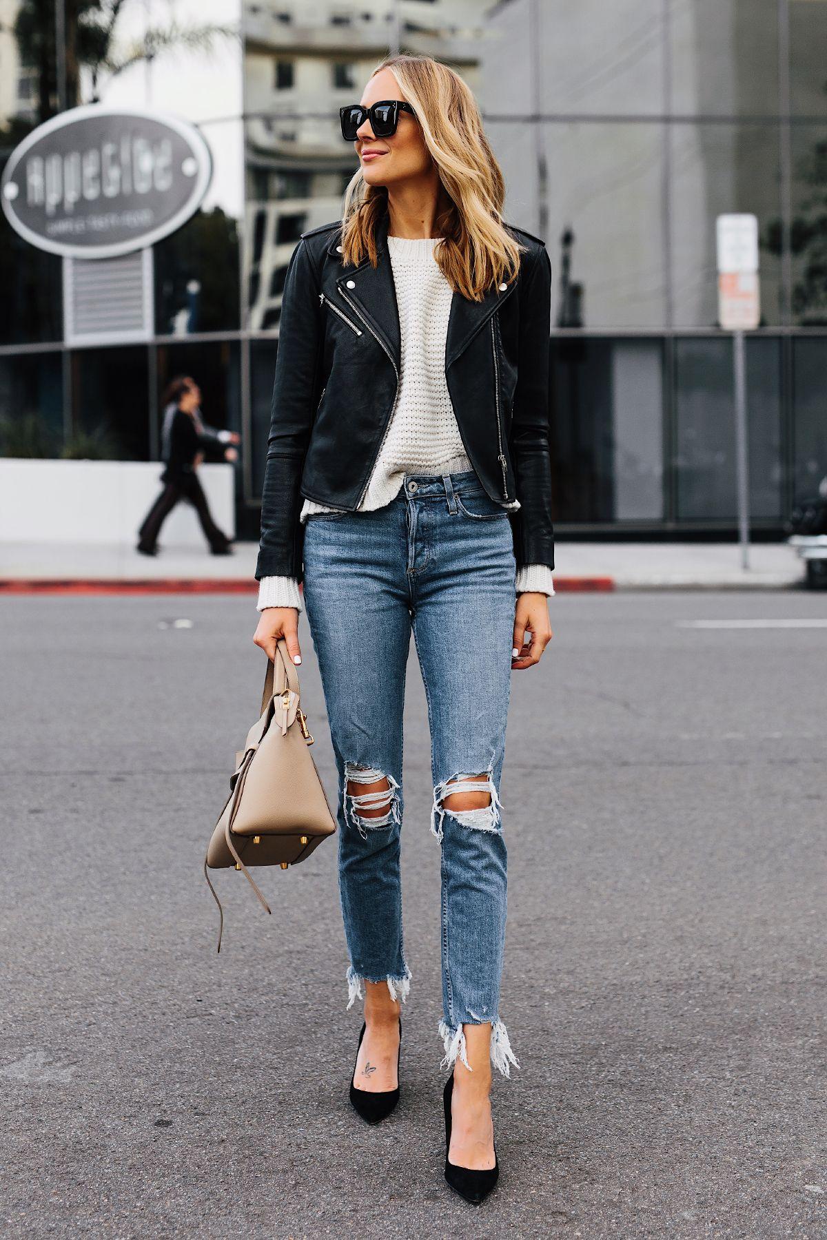 df7f8b7d49a1 Blonde Woman Wearing Club Monaco Black Leather Jacket Ivory Chunky Sweater  Paige Ripped Jeans Black Pumps Celine Mini Belt Bag Fashion Jackson San  Diego ...