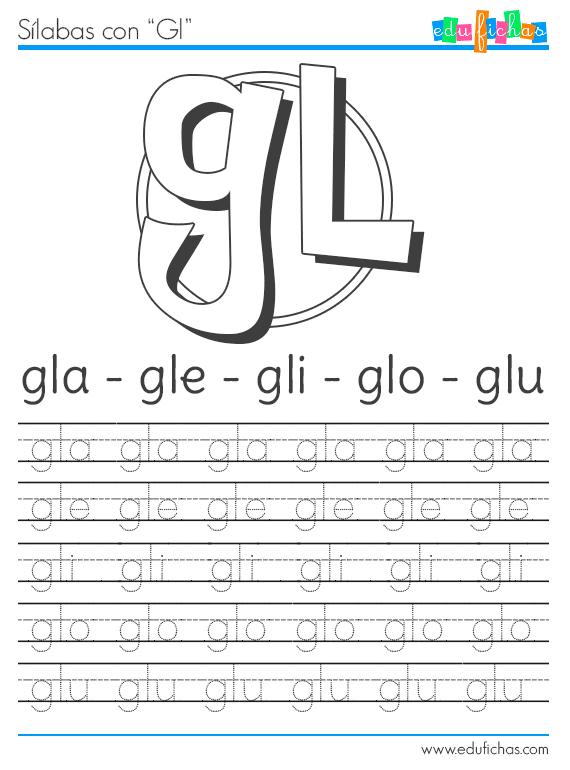 Sílabas con GL http://www.edufichas.com/actividades/lectoescritura ...