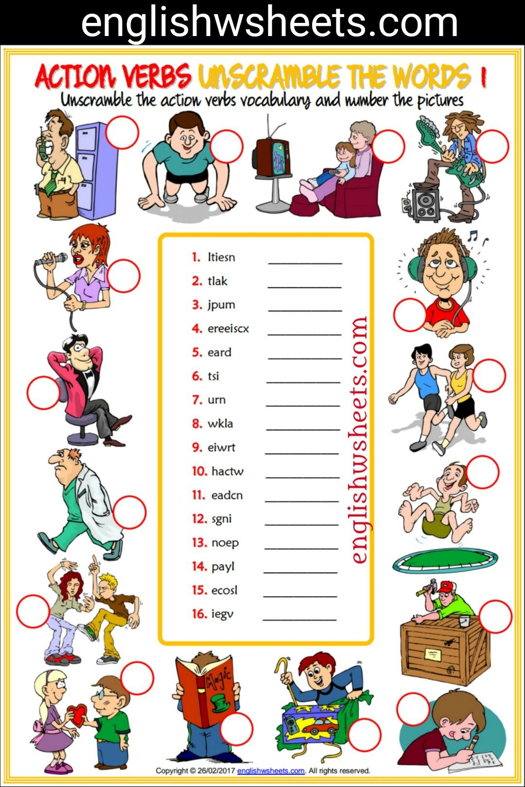 Action Verbs Esl Printable Unscramble The Words Worksheets
