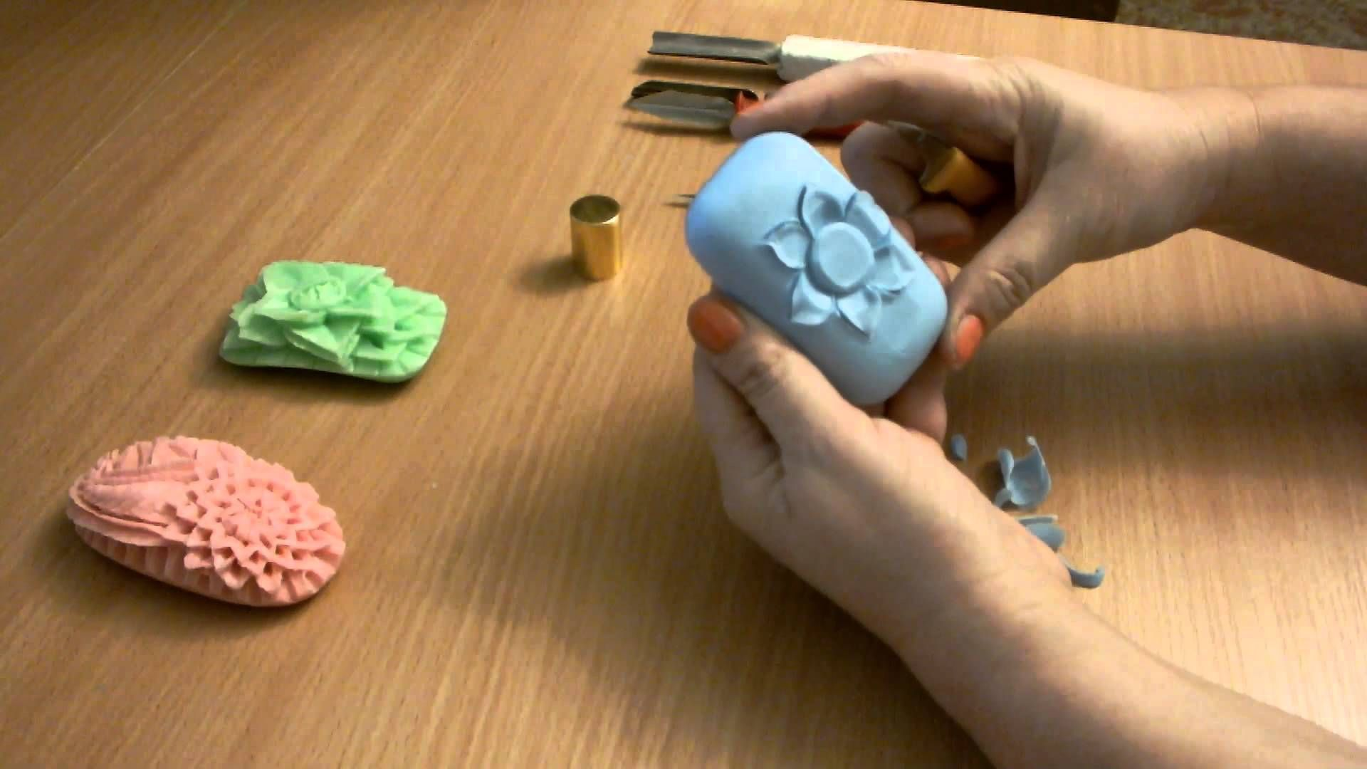 карвинг на мыле синий цветок at the soap carving cosméticos e