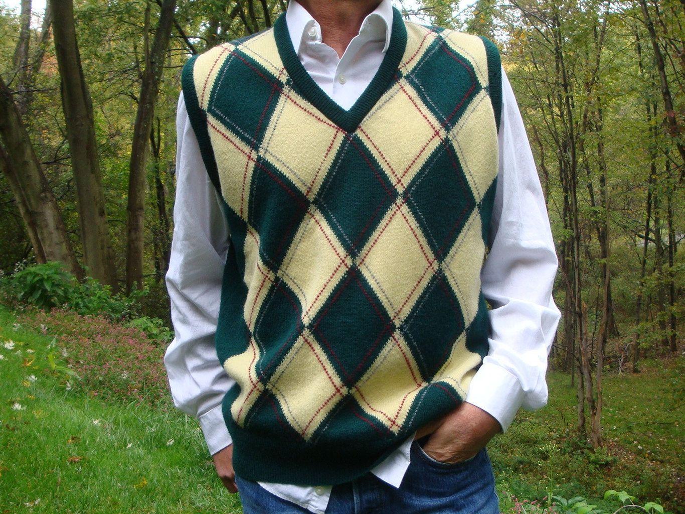 Vintage Men's Argyle Sweater Vest Green Yellow Diamond Virgin ...