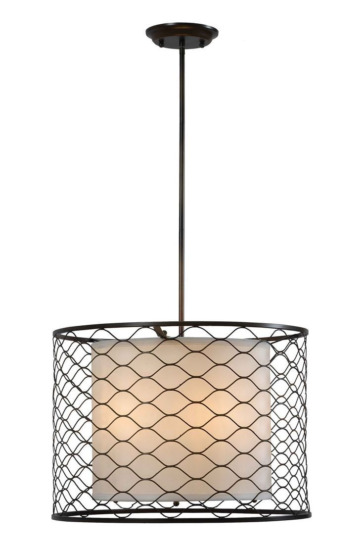 chicken wire pendant lights kitchen | Chicken wire drum shade light ...