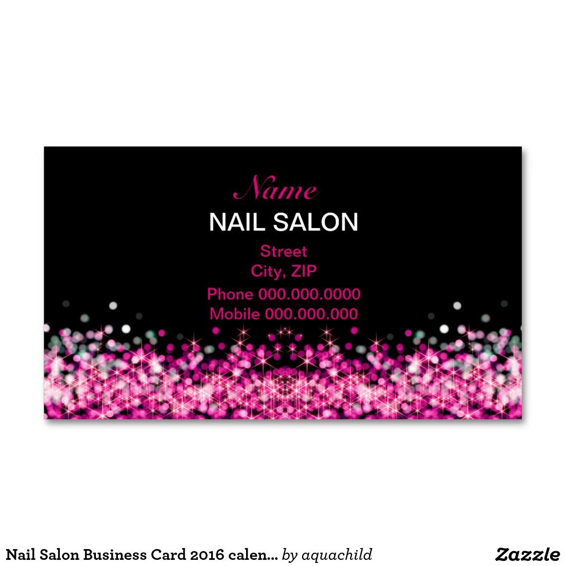Nail salon business card 2016 calendar nail salons for Nails business cards design