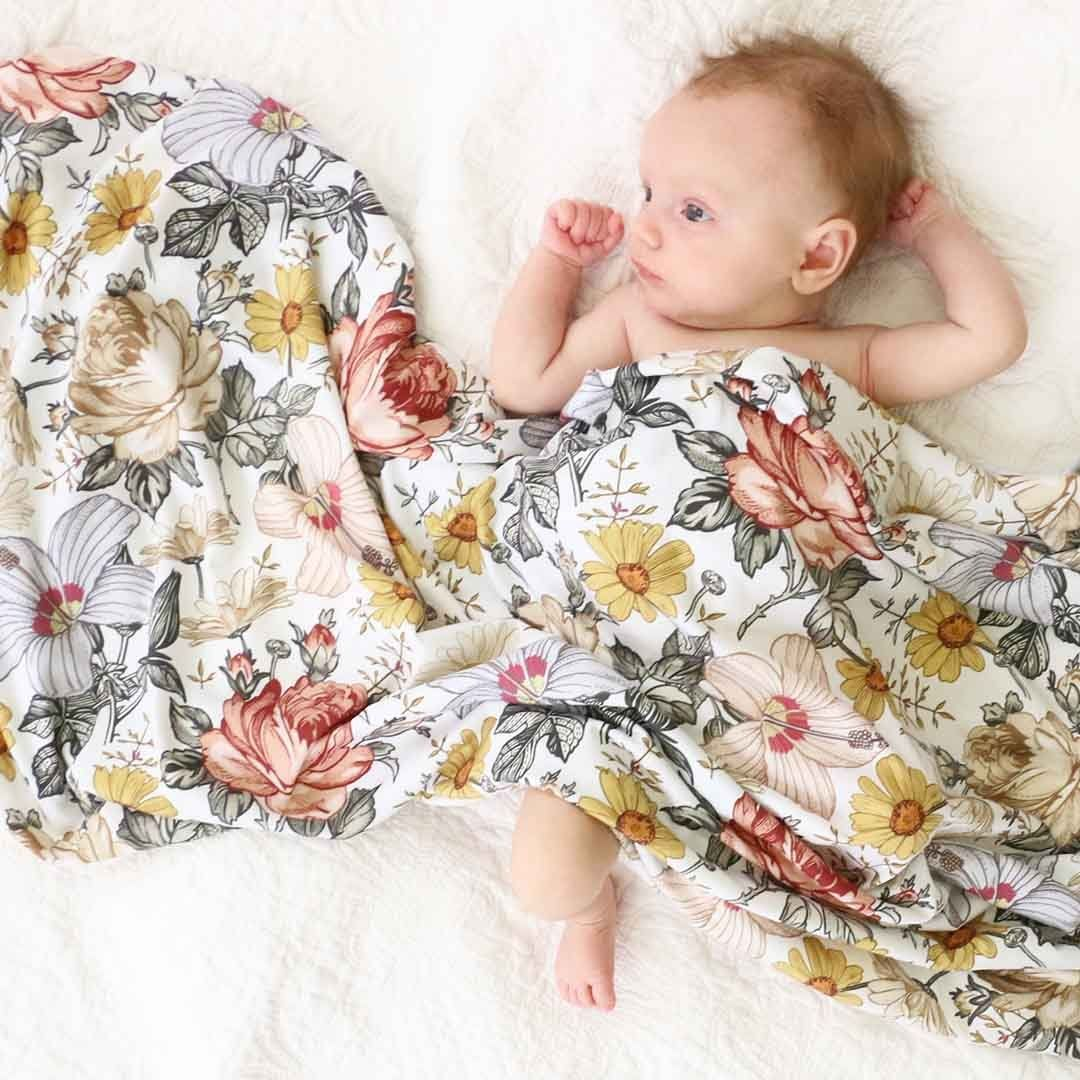 Peyton's Vintage Floral Oversized Swaddle Blanket (With