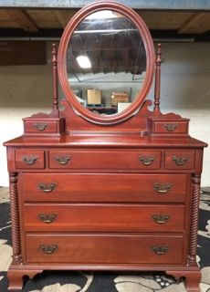 1950s Willett Wildwood Solid Cherry Dresser With Mirror Comprised Of 8 Drawers Br