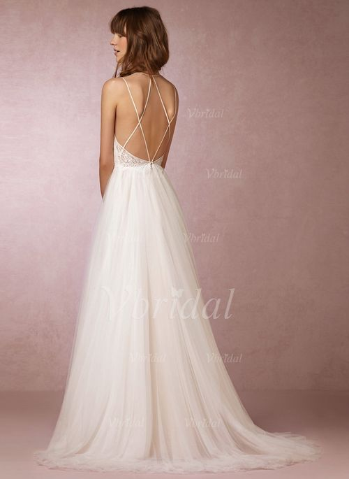 A-Line/Princess Sweetheart Sweep Train Tulle Lace Crossed Straps ...