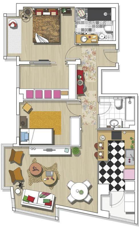 Casinha colorida Madri é para lá que eu vou small apart - Plan De Maison En 3d