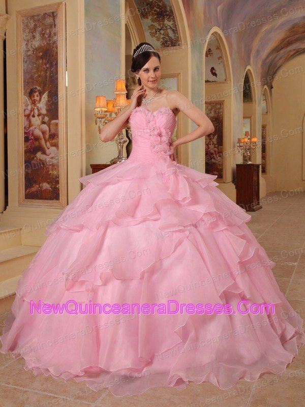 Pretty Pink Quinceanera Dress Sweetheart Organza Beading Ball Gown ...