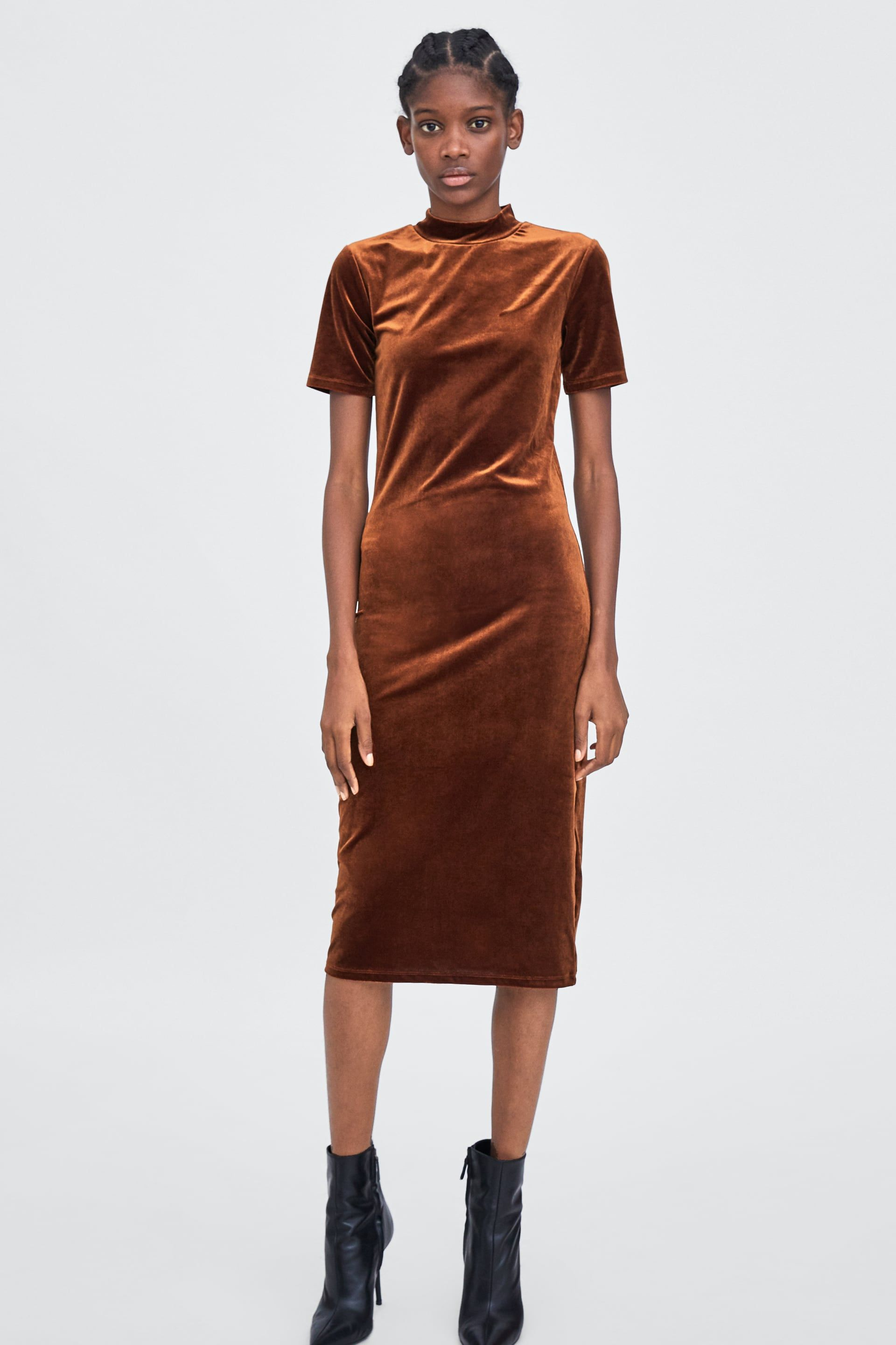 1c850c332f53 Image 1 of VELVET MOCK NECK DRESS from Zara Zara Women, High Neck Dress,