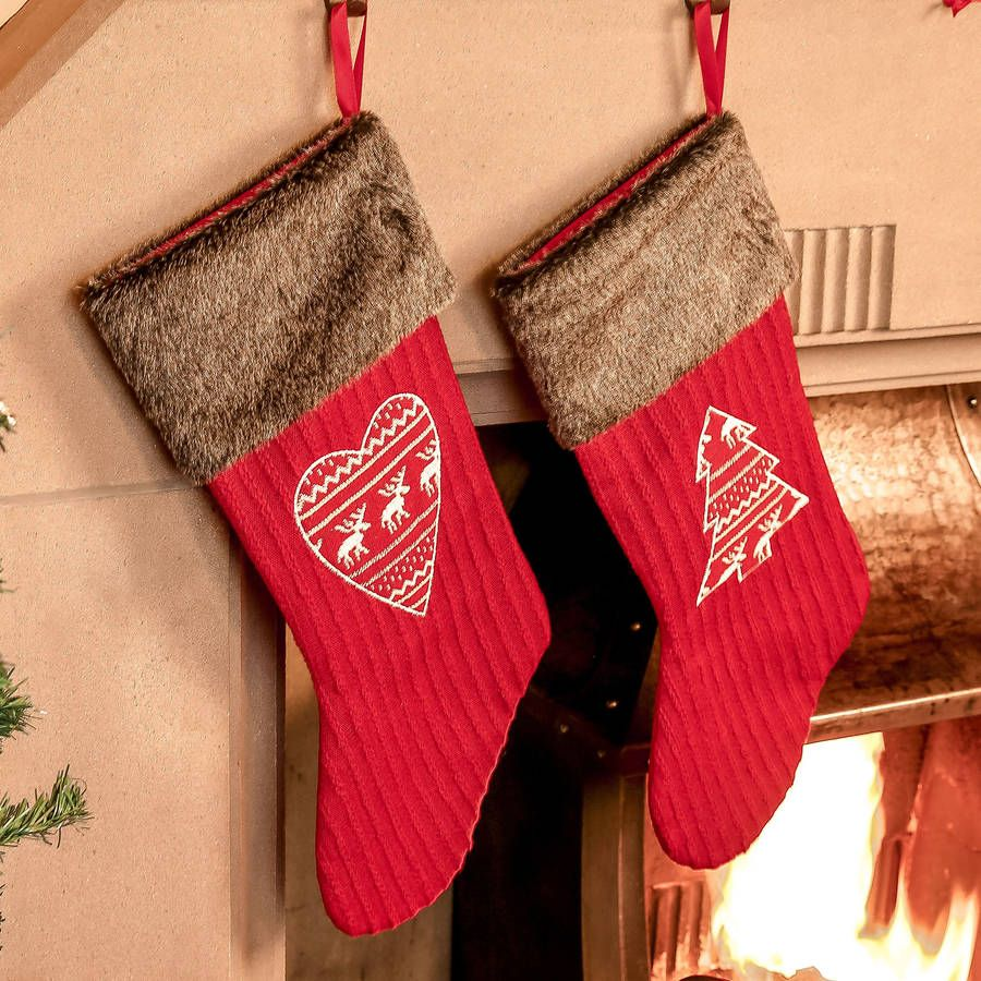 Personalised Set Of Two Nordic Christmas Stockings | Christmas ...
