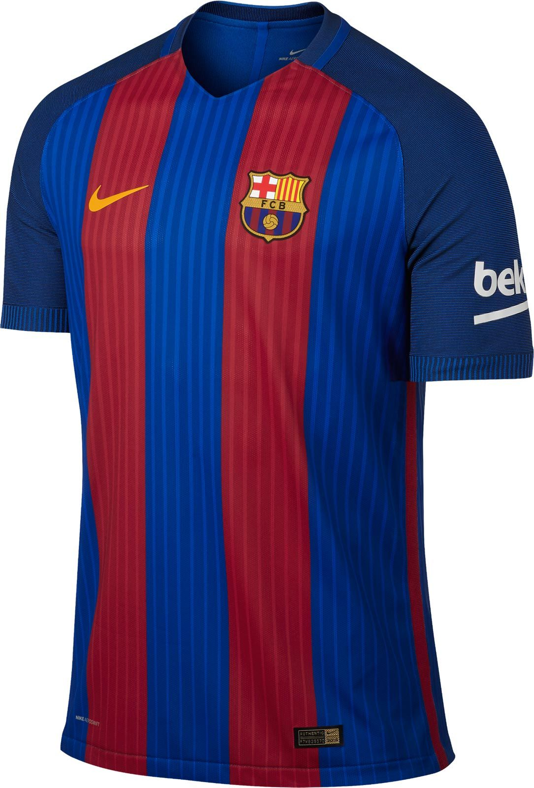 The Barcelona 16-17 kit is blue with red stripes, ditching the hoops look