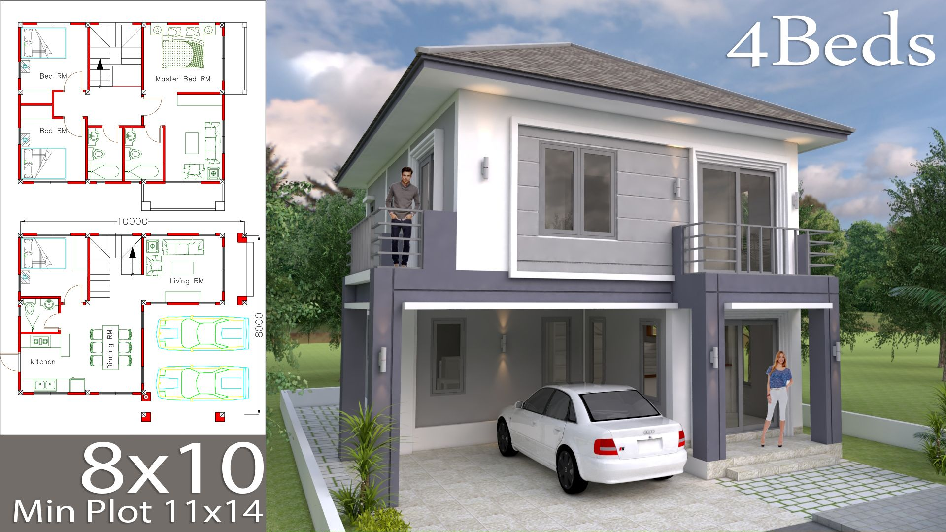 House Plans 8x10m With 4 Bedrooms House Plans 3d In 2020