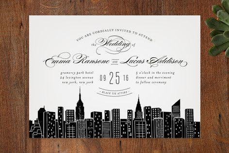 City New York Invitations Black Wedding