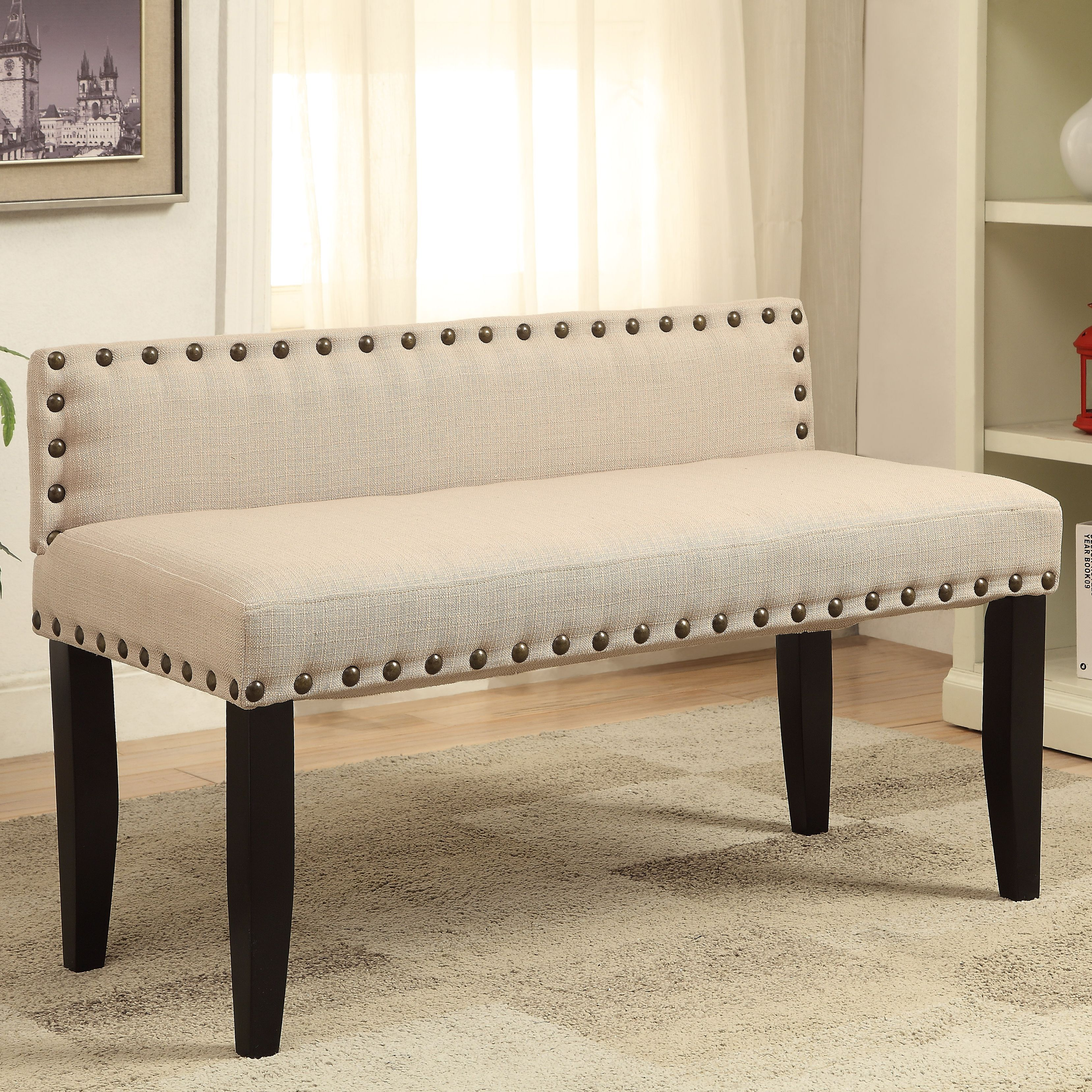 Dining room table with upholstered bench  This stylish bench is constructed from padded flax fabric for an