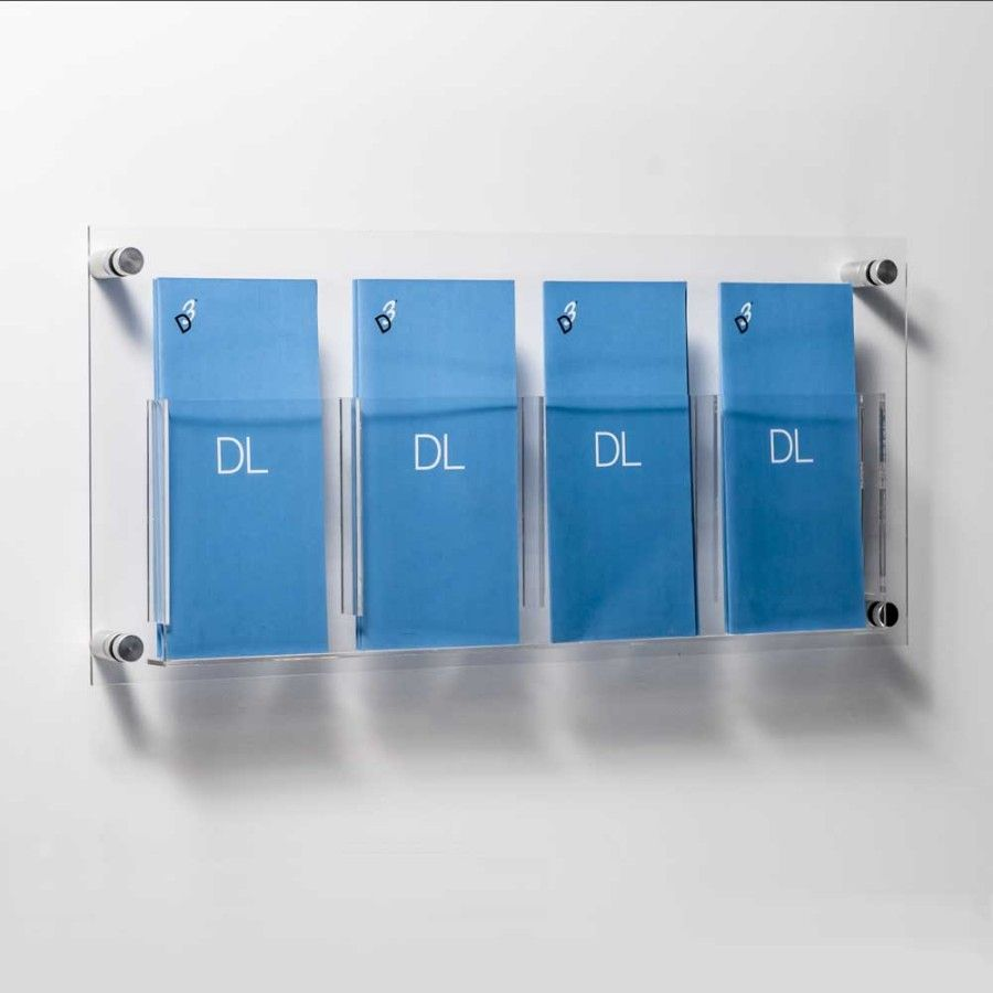 DL Leaflet Holders - 2 / 4 Acrylic Pockets + Aluminium Wall Fixings ...