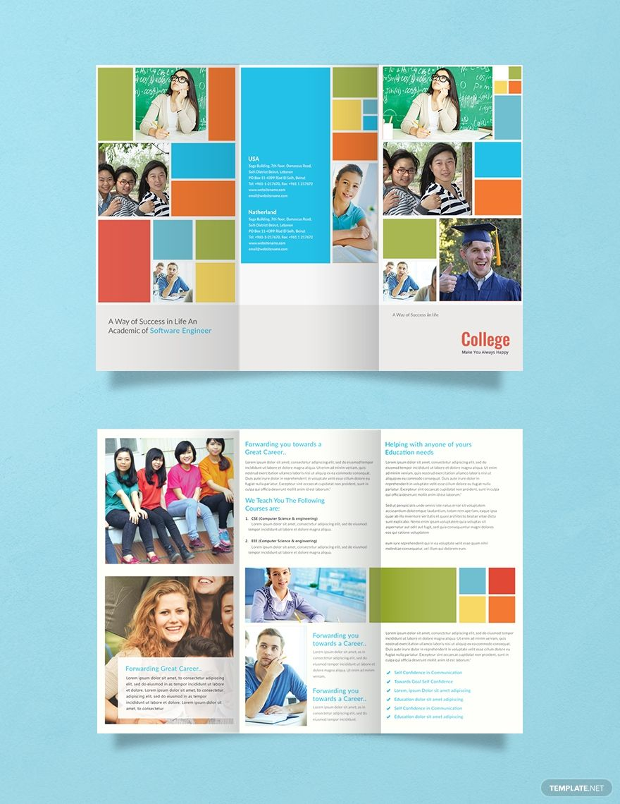 Free College A3 Brochure Template Word Doc Psd Indesign Apple Mac Apple Mac Pages Publisher Illustrator College Brochure School Brochure University Brochures