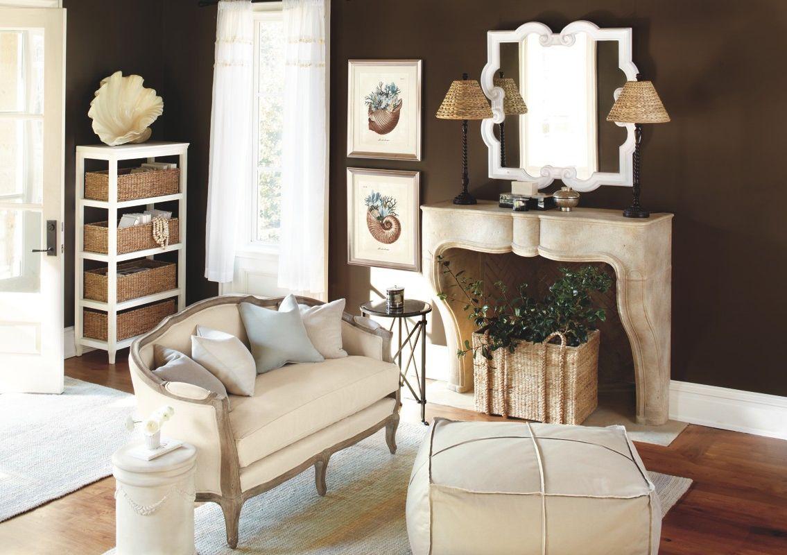 Warm chocolate living room with cream accents | Ballard ...