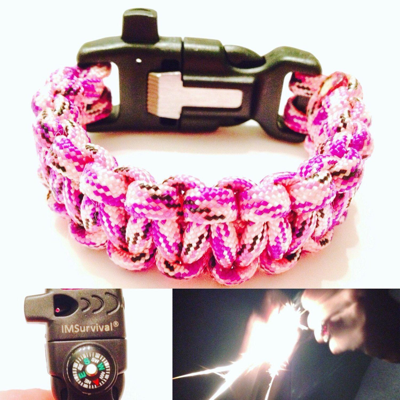 Pink Survival Bracelet  Womens Pink Camo Paracord Bracelet With Flint And  Striker, Signal Whistle