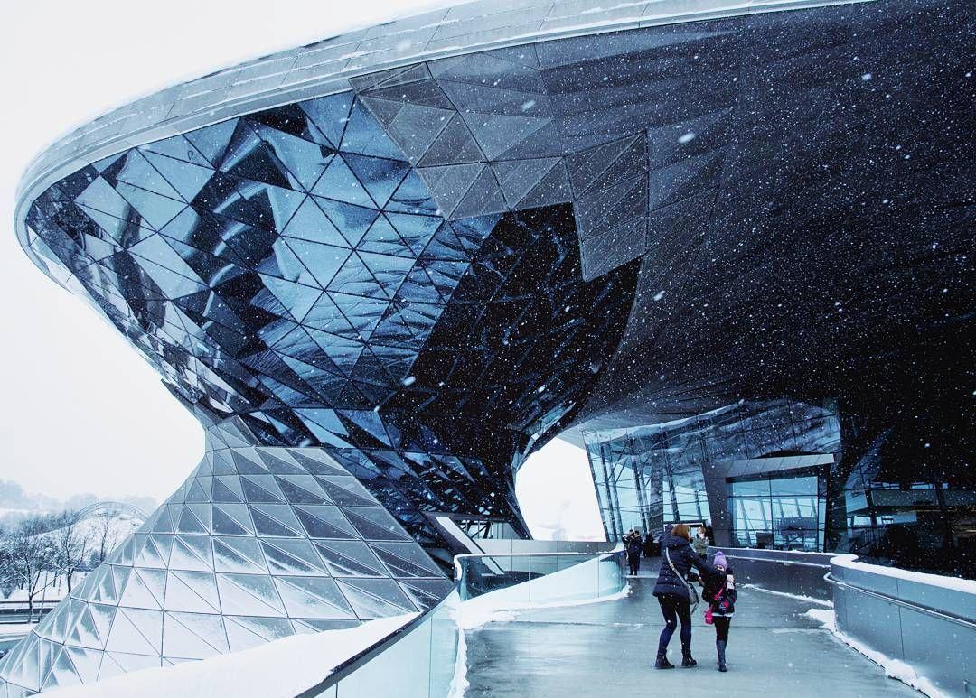 Jeffrey Liu On Instagram Sculptural And Functional Swirling Glass And Steel Double Cone Facade At Bmw World Architecture Photography Facade Parametric