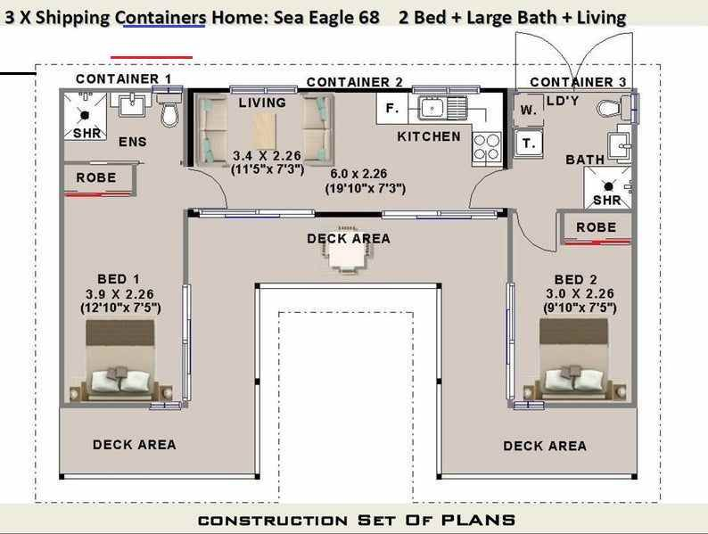 3 X Shipping Containers 2 Bedroom Home Full Construction House Plans Blueprints Usa In 2020 Shipping Container House Plans Container House Plans Container House