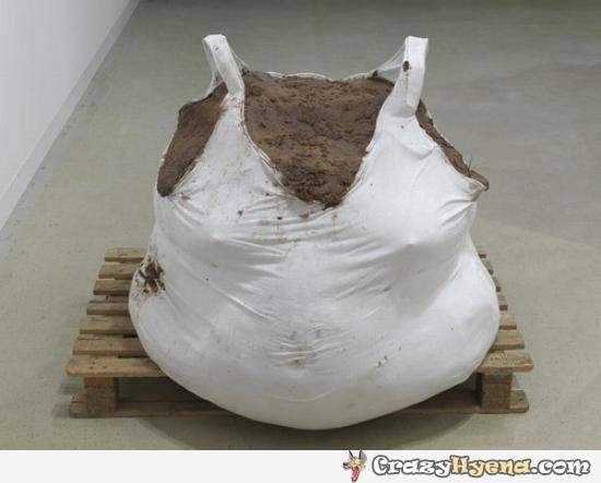 White Bag Filled With Dirt Looks Like A Fat Woman In Singlet The Part Is That This Turning You On