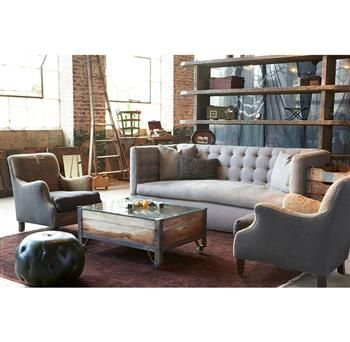 Alden Modern Tufted 8 Way Hand Tied Oatmeal Linen Feather Down Sofa   90  Inch