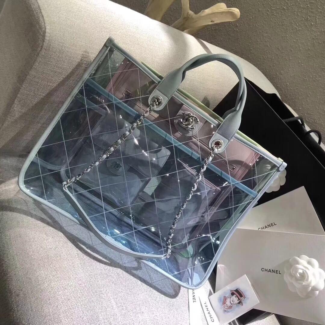 7310cb558b53 Chanel PVC Coco Splash Medium Shopping Bag A57411 Blue/Green/Pink 2018