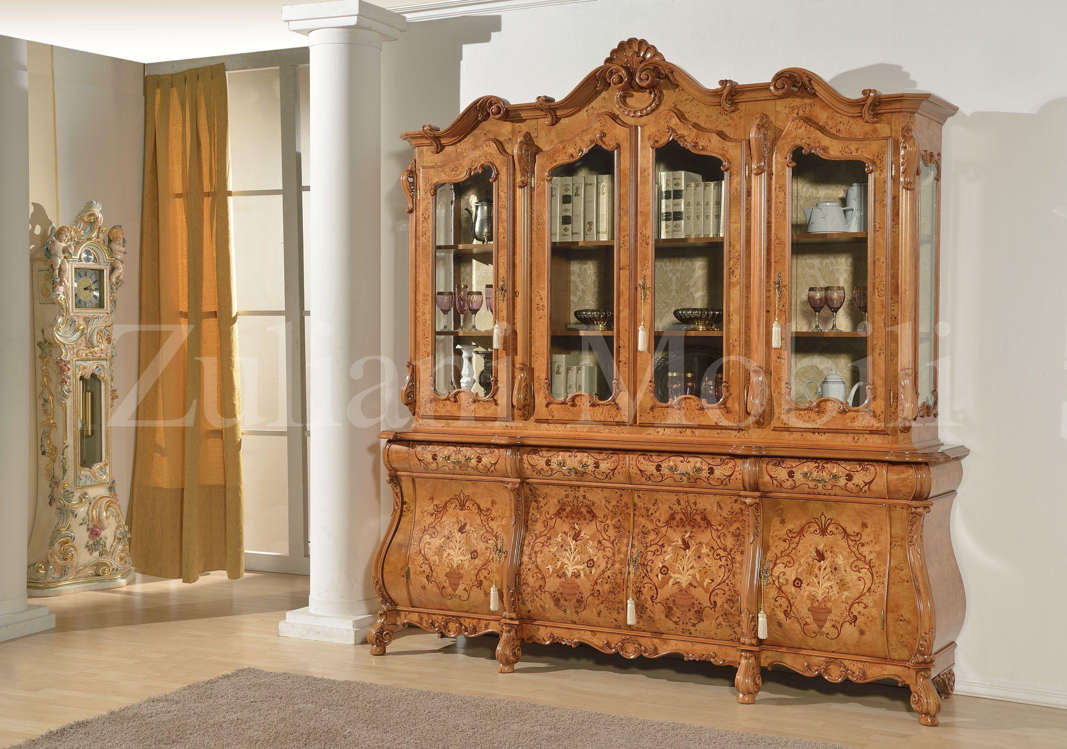 cristalliera in stile olandese in radica di pioppo con intarsi ... - Arredamento Classico Milano